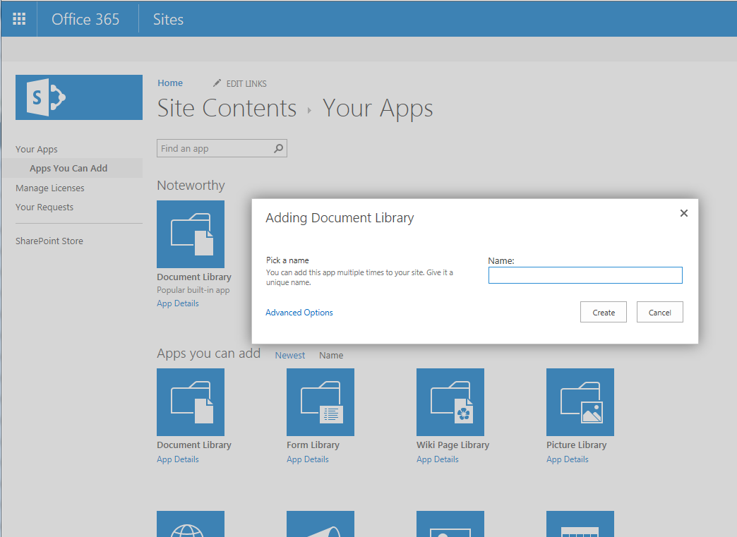 Set up a document library in sharepoint online for Document library name sharepoint