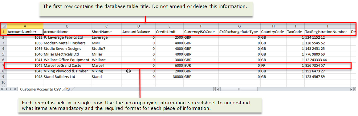 Importing information into Sage 200c