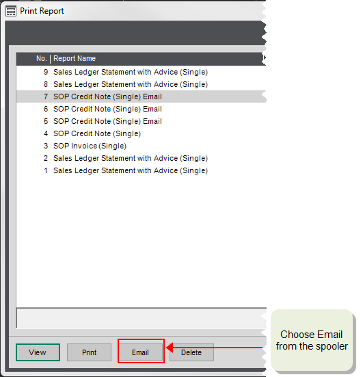 Choose Email From The Preview Or The Spooler.  Email Invoices