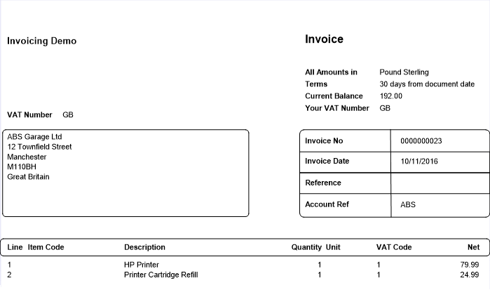 email invoices and credit notes from invoicing