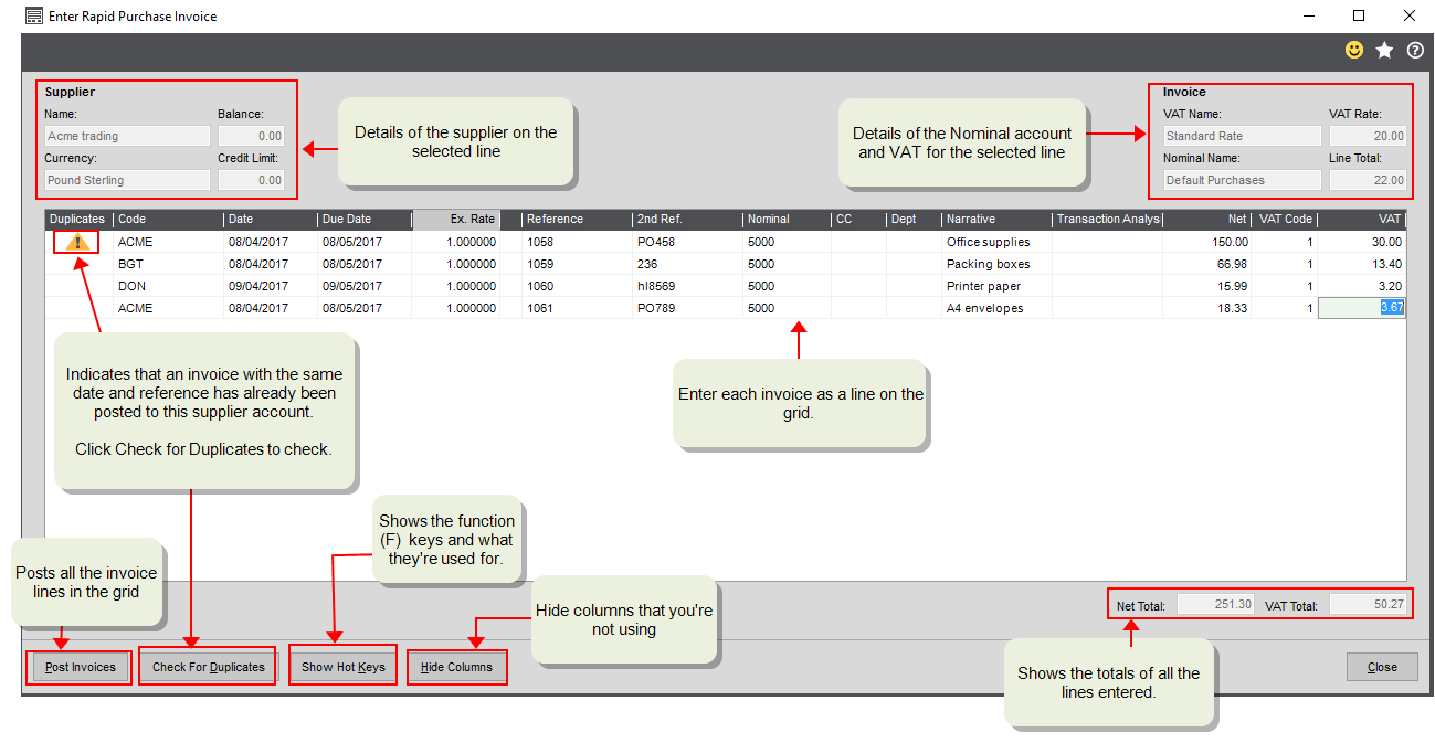 Rapid supplier invoice entry