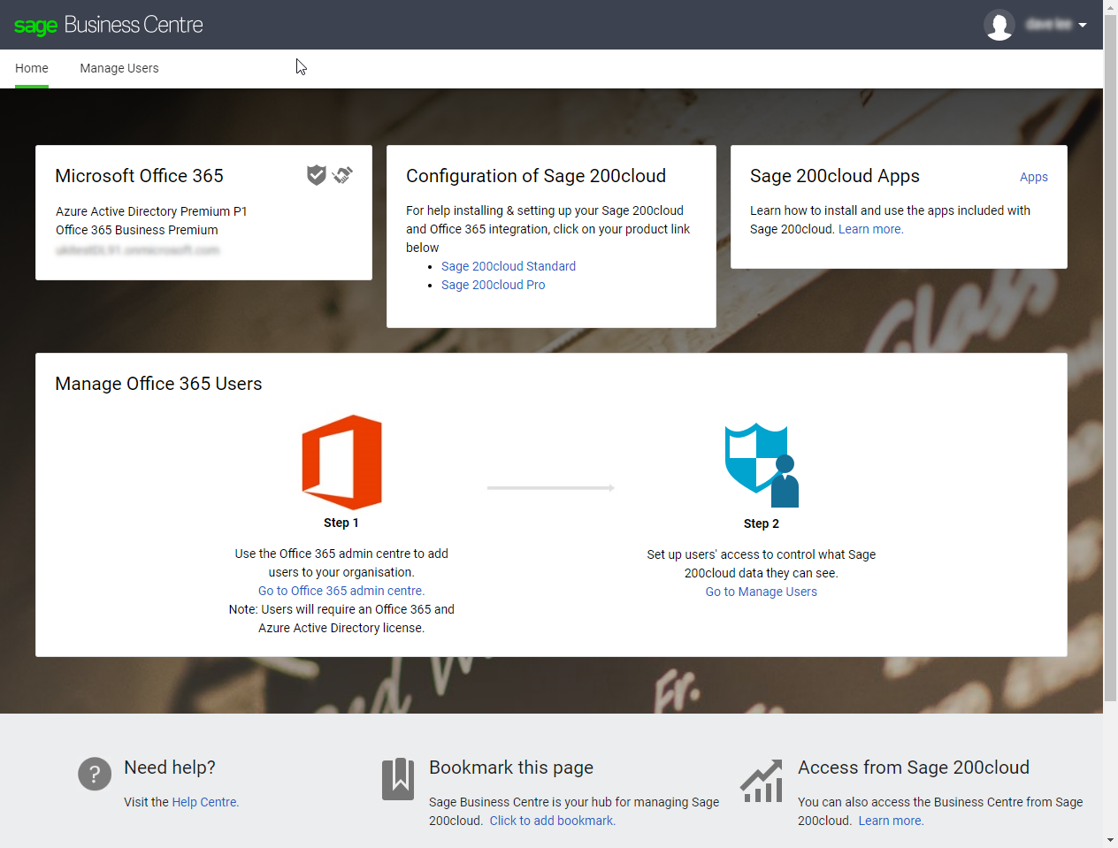 Set up Sage Contact, Power BI or Pegg for Office 365